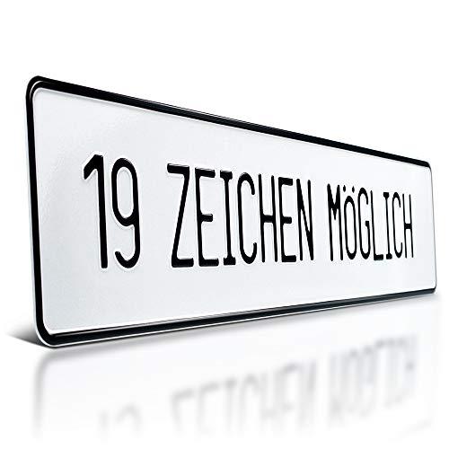 schildEVO Aluminium Schild | geprägt mit Wunschtext | bis 19 Zeichen | Parkplatzschild | Parkplatz-Kennzeichen | 520 x 110 mm | weiß