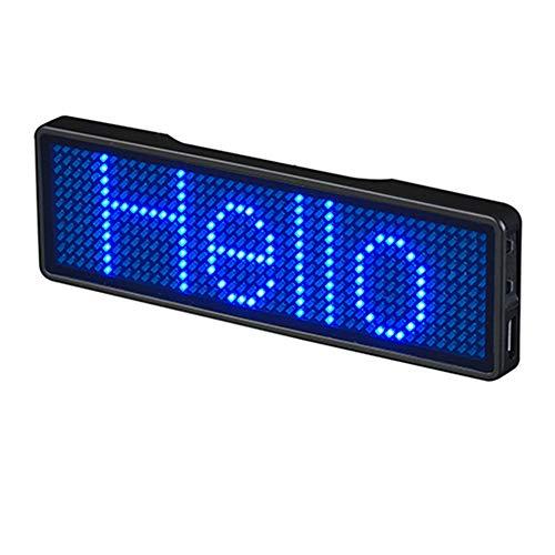 PovKeever LED programmierbares Scrolling-Namensschild, Anzeigetafel, digitales bewegliches Schild, USB wiederaufladbar, ID-Tag für Restaurant, Geschäft, Ausstellung, Nachtclub, Hotel