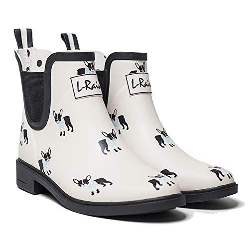 L-Rain LR Women?s Short Rain Boots Waterproof and Anti-Slipping Rain Shoes Chelsea Booties, Off White-french Bulldog, 8