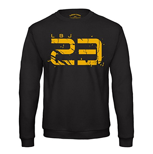 LBJ 23 Sweatshirt Lebron James Cleveland Cavaliers Cavs Pullover Basketball Shirt (XL, Schwarz)