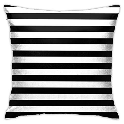 Federa decorativa per cuscino, motivo a righe, 40 x 40 cm, colore: bianco e nero
