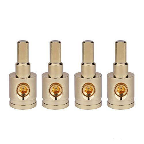 Amp Input Reducer 4pcs 1/0 Gauge to 4 Gauge Wire Reducer Power/Ground Input Reducer Adapter Brass with Gold Plated