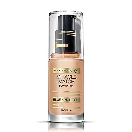 Max Factor Miracle Match Foundation Natural 50 – Flüssig Foundation mit Weichzeichner-Effekt – Passt sich jedem Hautton an – 1 x 30 ml