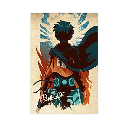 Póster de anime Attack on Titan Temporada 4 Eren Jaeger 6 Lienzo decorativo para pared, impresión artística para sala de estar, dormitorio, decoración de 50 x 75 cm, estilo Unframe-1
