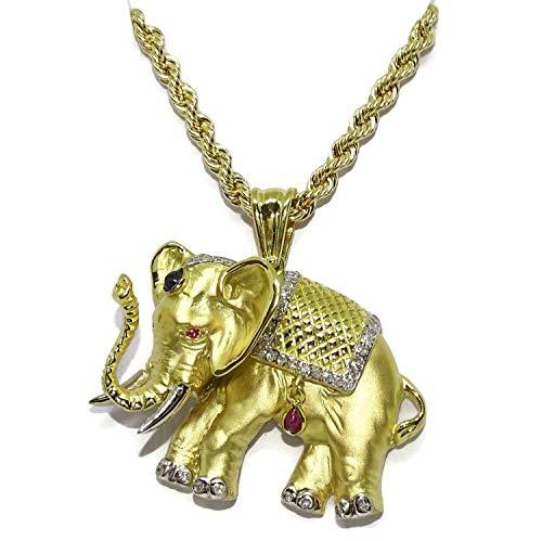 Collar con Elefante de oro amarillo de 18k con 0.32cts de diamantes y piedras preciosas con un cordón de 3.3mm de ancho por 50cm de largo ideal para mujer. Todo oro de 18k. 24.60gr de oro de 18k