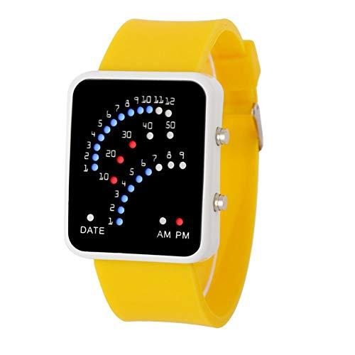 Goosuny Herren Futuristisch Stil Sportuhr Jungen Mädchen Wasserdicht Digital Uhren Outdoor Sportuhren Electronic Digitaluhren Armbanduhr Handgelenk Uhren Mit Led-Licht Männeruhren (Gelb)