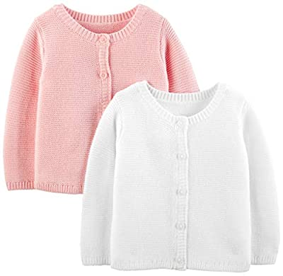 Simple Joys by Carter's Baby 2-Pack Knit Cardigan Sweaters, White/Pink, 3-6 Months