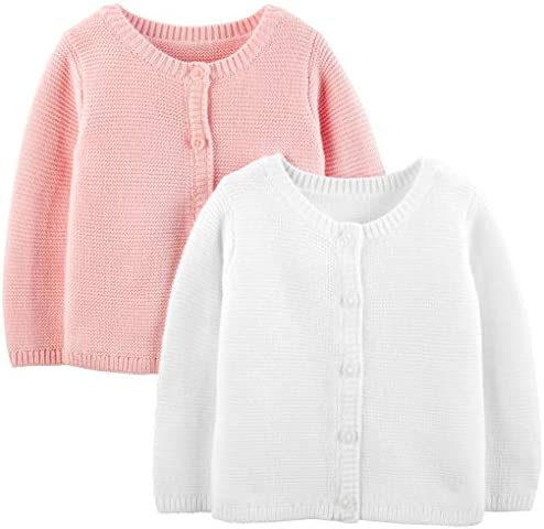 Simple Joys by Carter s Girls 2 Pack Knit Cardigan Sweaters White Pink Newborn product image