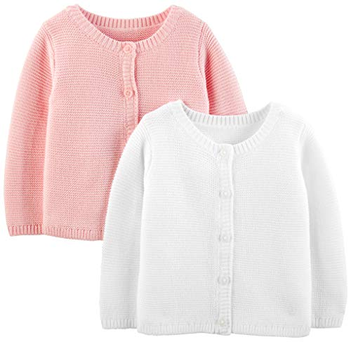 Simple Joys by Carter#039s Girls#039 2Pack Knit Cardigan Sweaters White/Pink 18 Months