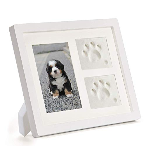 Coryfeel Dog or Cat Paw Prints Pet memorial Triple Photo Frame 4x6 With Clay Impression Kit, Perfect Keepsake picture Frame for Pet Lovers White/White