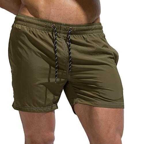 Tofern - Bañador ajustable para hombre con cordón, Hombre, Verde militar, large