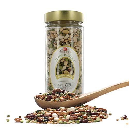 Zuppa Rustica di Legumi Misti, Fagioli E Piselli, Vasetto da 450 Grammi (Confezione da 2 Pezzi)