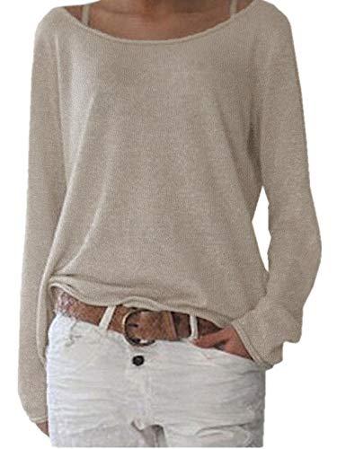 ZANZEA Damen Langarm Lose Bluse Hemd Shirt Oversize Sweatshirt Oberteil Tops Beige EU 36-38/Etikettgröße S