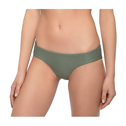 Tori Praver Women's Cheeky Hipster Bikini Swim Bottom (X-Large, Army Green)