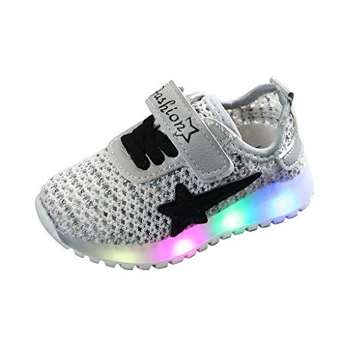 Alwayswin Unisex-Kinder Mesh Breathable Turnschuhe LED Leuchtende Sportschuhe Jungen Mädchen Leichte rutschfest Sneakers Freizeitschuhe Outdoor Bequem Weicher Boden Laufschuhe