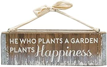 CWI Gifts Plant Happiness Distressed Slatted Wood Hanging Plaque, Multicolored