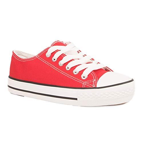 Primtex - Zapatillas de tela de tenis para mujer, suela de goma blanca, burdeos, negro, azul marino, amarillo, rojo, 37 EU