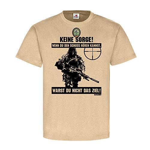 Deutscher Scharfschütze BW Sniper Schuss hören Ziel Ghillie Suit Tarnanzug Abzeichen Spruch Fun Bundeswehr T-Shirt #20399, Größe:XXL, Farbe:Sand