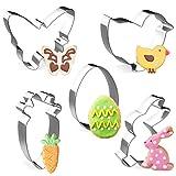 Formine Biscotti Pasqua , 5 Pezzi Acciaio Inox Modello Pasqua, Stampi Biscotti Pasqua, Set di Formine per Biscotti, Coniglio, Carota, Farfalla, Uovo, Pulcino