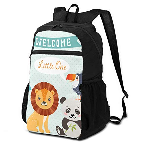 JOCHUAN Hiking Waterproof Bags Baby Shower Design Cute Jungle Animals Daypacks for Travel Foldable Backpack Packable Lightweight Waterproof for Men & Womentravel Camping Outdoor