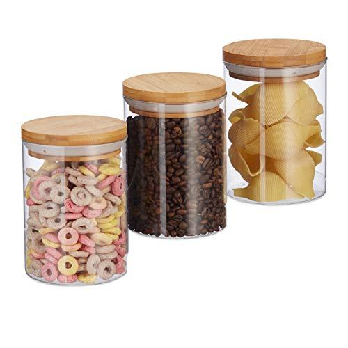 Relaxdays Vorratsdosen Glas, 3er Set, für Pasta, Reis, Müsli, Kaffeebohnen, Volumen 600 ml, HxD 14x9,5 cm, Bambus, natur