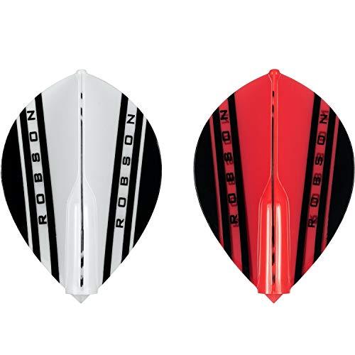 Robson Plus Dart Flight V Flights - Tribe Flight Verschiedene Flight- Formen/Shapes und Farben (V Pear Weiß)