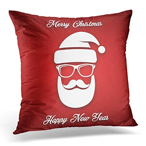 jupsero Decorative Pillow Cover Abstract White Silhouette of Santa Claus with Cool Beard Mustache and Glasses on Red Casual Throw Pillow Case Sofa Home Decor Pillowcase 16x16 Inches