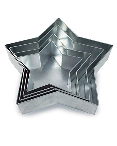 Set of 4 Tier Star Multilayer Birthday/Wedding Anniversary Cake Tins/Cake Pans/Cake Moulds 6'.8'.10'.12' - all 3' Deep