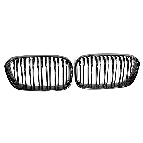 ZHJNB Tela de riñón para Parachoques, 1 par del Frente de Coche para BMW F20 F21 LCI 5D 1-Series 3D 120i 2015-2017 Racing Grille Negro Brillante 1 Llantas,1gloss Black 2 Slat