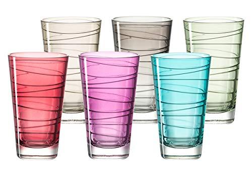 Leonardo Vario Struttura Becher groß farbig sortiert, 6-er Set, 280 ml, Kristall-Glas mit Colori-Hydroglasur, 047285