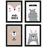 Nacnic set de 4 láminas 'oso, hipopotamo y conejo'. Posters de animales. Tamaño a3 sin marco