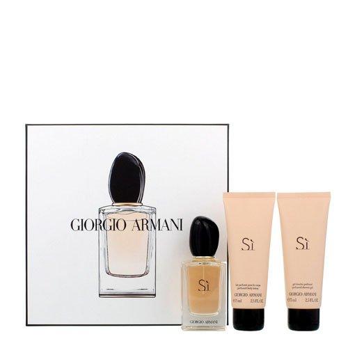 Giorgio Armani Si Geschenkset 50ml EDP Spray + 75ml Duschgel + 75ml Körperlotion