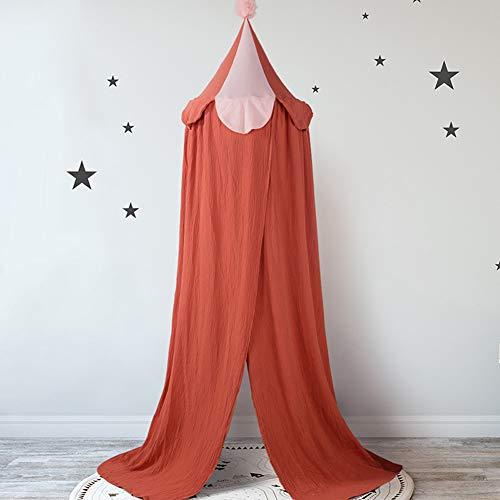 BAIHAO Dôme de lit auvent, Coton Double Couche crêpe moustiquaire pour Enfants Rideau de lit occultant Enfants Princesse Jouer tentes décoration de Chambre