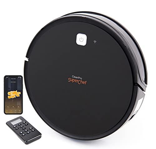 SuperChef CleanPro SF425 Staubsauger-Roboter, WiFi, App, kompatibel mit Alexa und Google Home, Aspira, Bar, Reiben und Wischmop, Intelligente Gyroskopische Navigation