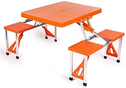 Juego de mesa y silla portátil para exteriores, balcón, jardín, camping, playa, mesa plegable, escritorio para ordenador, Naranja, L*W*H: 134*85*67cm