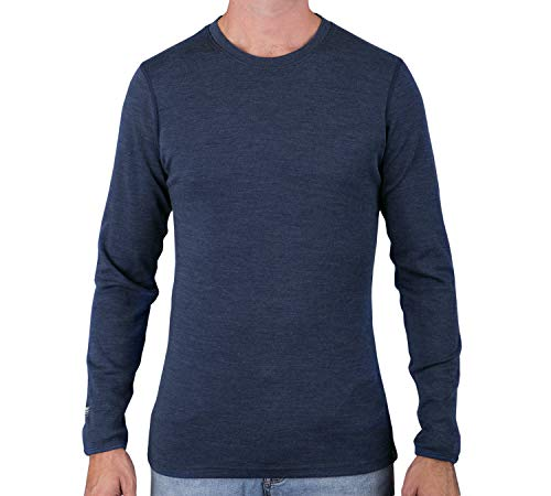 MERIWOOL Mens Base Layer - 100% Merino Wool Midweight Long Sleeve Thermal Shirt