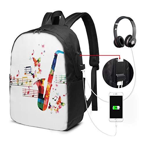 Usicapwear rugzak, kleurrijk saxofoon ontwerp met vlinders en bladmuziek creatieve illustratie