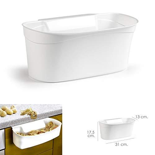 ORYX 5071165 Cubo Basura Colgante Para Encimera/Cesta Recogedora Desperdicios 31x13x17.5 (Alt.) cm. Color Blanco, Plástico
