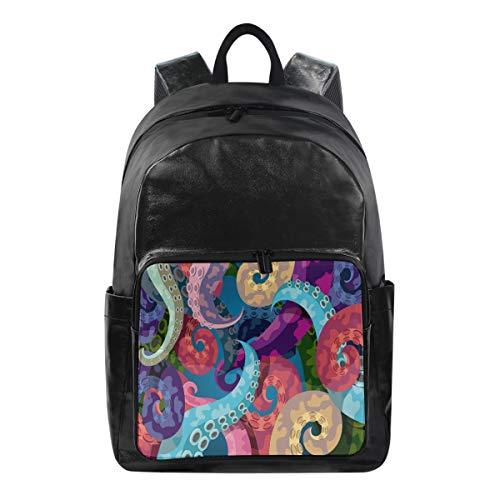 ALARGE Mochila colorido animal pulpo tentáculos multi función bolsa de negocios escuela universidad lona libro bolsa viaje senderismo camping mochila