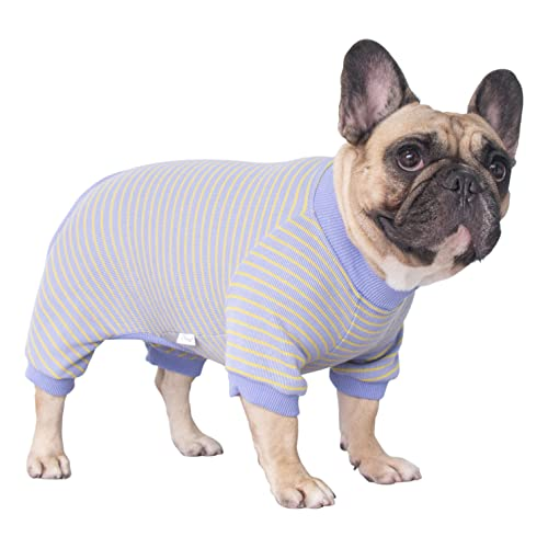 iChoue 100% Cotton Dog Pajamas Onesie Suit PJS Bodysuit for Medium Sized Dog French Bulldog Frenchie Pug English Pitbull Boston Terrier Purple - M