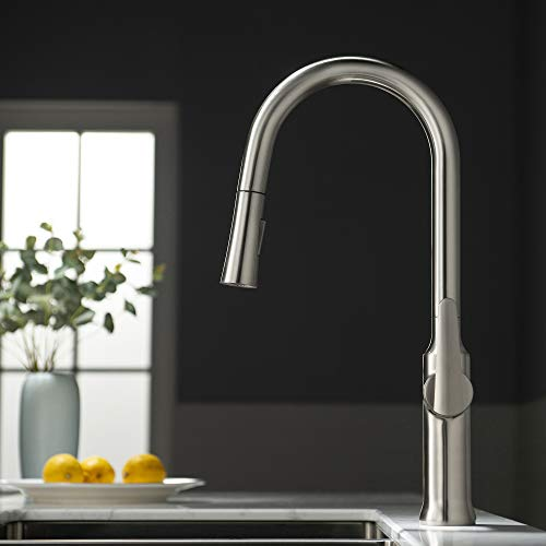 New Woodbridge Kitchen Solid Brass Pull Down Single Handle Faucets Brushed Nickel Finish, WK030102 B...