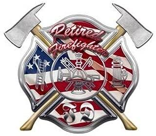 American Flag FD Maltese Cross Retired Firefighter Decal - 2