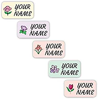 Personalized Waterproof No-Sew Laundry Safe Stick-on Labels for Clothing (Flowers Theme)