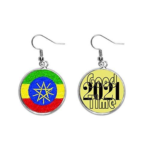 Ohrringe mit Kreide in Form einer Äthiopien-Flagge, zum Zeichnen von Kreiden, Schmuck, 2021