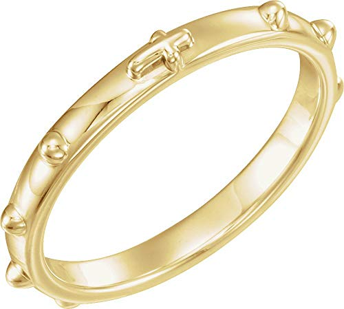 14K Yellow Gold Rosary Ring - Size 9
