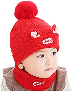 ZHONGXIN Conjunto de Gorro y Bufanda para niños pequeños, Gorro de Punto cálido con Pompones para bebé, Gorro de Ganchillo cálido de Invierno Unisex para niños, para niños de 0 a 36 Meses (B4)