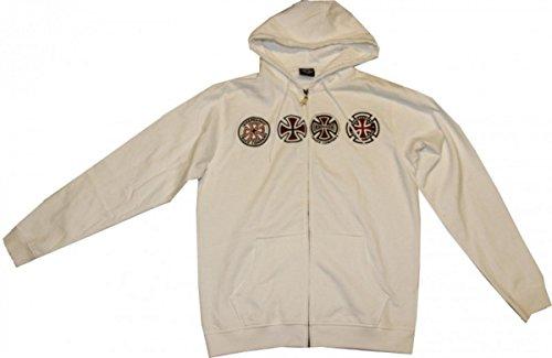 Independent Skateboard Pullover Zip Hooded White Sweater, Grösse:M