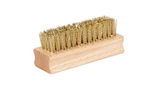 Kaps Hochwertige Schuh Messingbürste – handliche und praktische Schuhpflege Bürste mit Holzgriff – robuste & strapazierfähige Schuh Reinigungsbürste