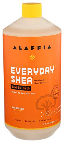 ALAFFIA EVERYDAY SHEA BUBBLE BATH - For All Skin Types, Soothing Support for Deep Relaxation and Soft Moisturized Skin with Shea Butter and Yam Leaf, Fair Trade, UNSCENTED, 32 Ounces