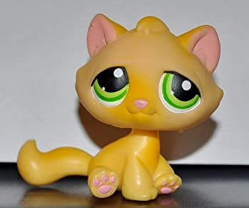 Kitten #94  Cat Sitting Orange Green Eyes No White Paint on Paws  Littlest Pet Shop 2004  Retired  Collector Toy - LPS Collectible Replacement Single Figure Loose  OOP Out of Package
